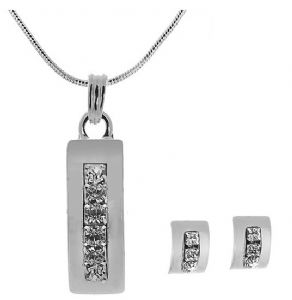 Bridal, Prom, Party, Cubic Zirconia Diamante Stud Earrings & Necklace Set